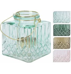 An assortment of 4 square glass lanterns in pretty pastel colours. Complete with a thin wire handle.
