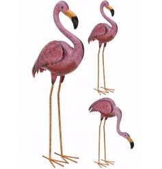 An assortment of 2 large flamingo metal garden figures