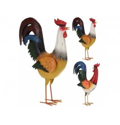 A mix of 2 colourful rooster ornaments. A stunning feature item for the home, kitchen and garden.