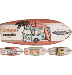 Summer design signs in the shape of surfboards in 3 different colours
