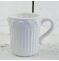 White Ceramic Heart Mug  This beautifully simplistic styled ceramic mug will fit in perfectly with any decor