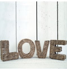 This stylish woven wicker Love sign will bring a stylish edge into any home