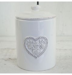 This dainty floral heart pattered lidded pot will add a touch of vintage charm to any kitchen