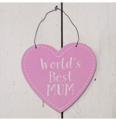 This sweet pink hanging wooden sign is perfect for any best mum!