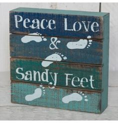 A quirky wooden block with a coastal charm themed distressed look