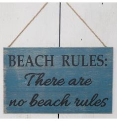 "This rustic finished wooden plaque with script ""Beach Rules: There are no beach rules"" will add a fun coastal feel to an"