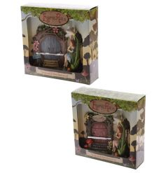 A mix of 2 enchanting fairyland fairy doors with a fairy sat within a flower. A woodland collectable item.