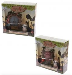 A magical fairyland woodland fairy door and wishes jar. A whimsical decoration for the home and garden.