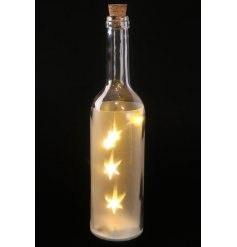 Light up LED stars glass bottle