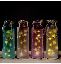 Assortment of glass jars light up