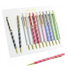 A mix of colourful laser pens with elegant gold and silver detailing.