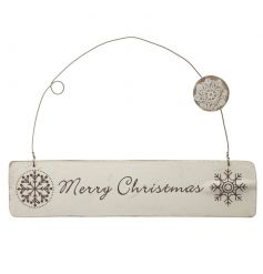 A chic white winter wonderland style Merry Christmas sign.