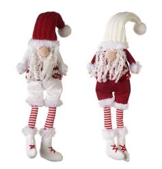 A mix of two nordic style red and white Santa decorations each with a festive jumper, stripe socks and a knitted hat.