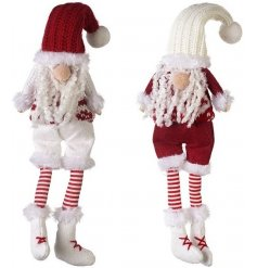 A mix of 2 red and white nordic style Santa decorations. A charming feature for your festive displays.