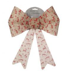 A rustic style hessian bow with a red reindeer design. Ideal for trees, garlands and gifts.