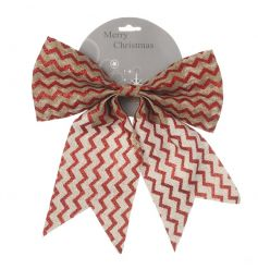 A red and natural chevron style bow in red and natural colours.