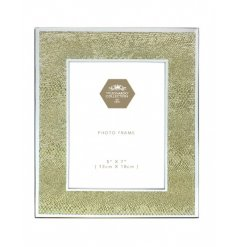 A glamorous gold glass snakeskin design photo frame. A chic home accessory and gift item.