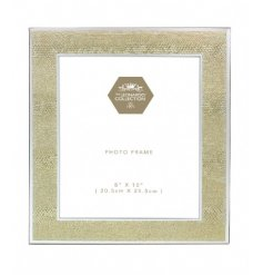 Add a touch of glamour to the home with this glass gold snakeskin design photo frame.