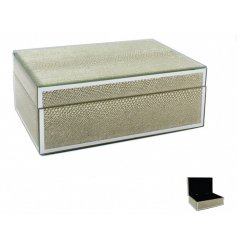 A gorgeous glass trinket box with a gold snakeskin design. Inside there is a luxurious black lining.