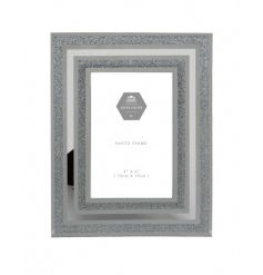 A chic silver glitter and mirror photo frame. Perfect for showcasing those most treasured pictures.