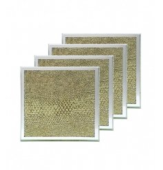 A set of 4 mirror and gold snakeskin coasters. A chic and on trend home essential.