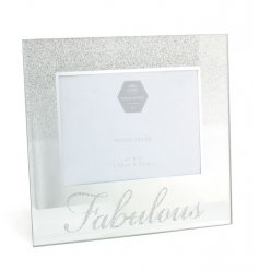 A chic silver glitter ombre style glass photo frame with a fabulous slogan.