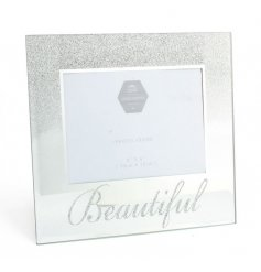 A glamorous glass photo frame with a glitter ombre finish and beautiful slogan. A chic gift item.