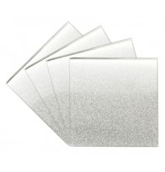 A set of 4 silver glitter glass coasters. The perfect way to add some glamour to the home.