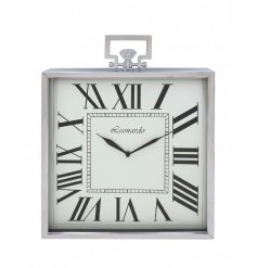 A stylish silver square clock with roman numerals.