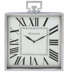A stylish and classic silver square mantel clock with roman numerals.