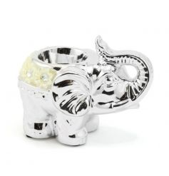 A stunning silver elephant t-light holder with pretty floral decorations.