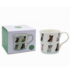 A fine china illustrated dogs mug with a variety of breeds pictured.