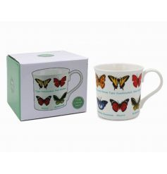 An illustrated butterfly variety fine china mug.