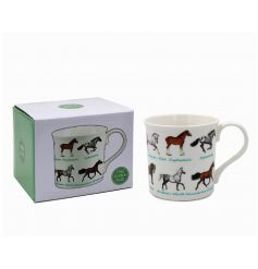 An attractive fine china mug with illustrated horse breeds.