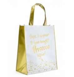 A gorgeous gold and white Prosecco design shopping bags with bubbles. A great gift item and handy shopper.
