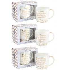 A mix of 3 popular Prosecco slogan mugs, each with a matching gift box. A wonderful gift item for Prosecco lovers.