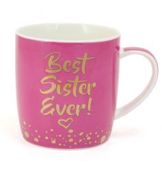 This pink mug with its gold script wording is a great gift to give to any favourite sister