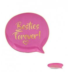 A fabulous trinket dish with a Besties Forever slogan. A great gift item and storage tray for jewellery and other items.