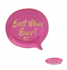 A bold and beautiful speech bubble shaped trinket dish with Best Mum Ever! slogan. A great gift item for mums.