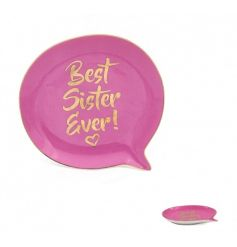 A bold and beautiful speech bubble shaped trinket dish with Best Sister Ever! slogan. A great gift item for sisters.