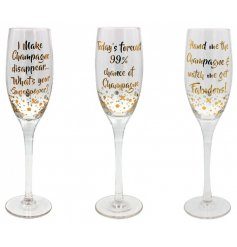 A mix of 3 fabulous gold Champagne slogan flute glasses with gift box.