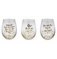 A stylish set of golden based drinking glasses.