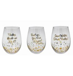 3 clear glass sets with printed gold script wording and sparkles