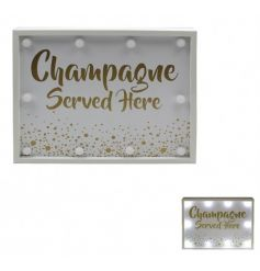 A fabulous Champagne Served Here LED light. A great gift item and light up feature for the home.