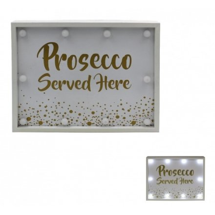 Prosecco Served Here LED Sign Light Up 31cm