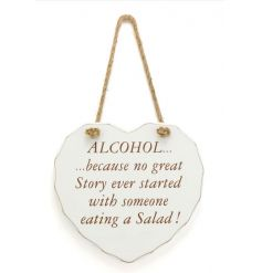 A shabby chic style heart plaque with a humorous alcohol slogan.