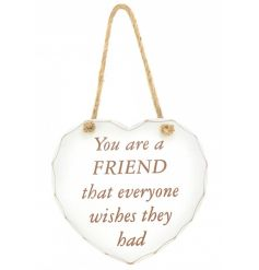 Stylish hanging white wooden heart plaque, with a popular friend Quote printed on the front