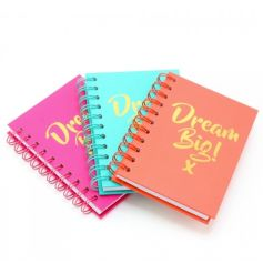 A mix of 3 colourful A6 sized notebooks in pink, coral and blue colours. Each is finished with a Dream Big slogan.