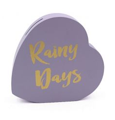 Save your pennies for a rainy day with this super stylish heart shaped money box. A great gift item and home accessory.