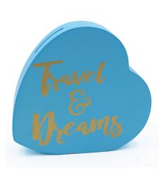 A fabulous travel and dreams heart shaped money box.